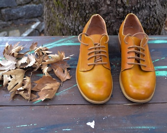 Leather Shoes,Handmade Shoes, Classic Brown Leather Derby Shoes, Brown Derby Shoes, Brown Brogues, Leather Flats, Tie Shoes,