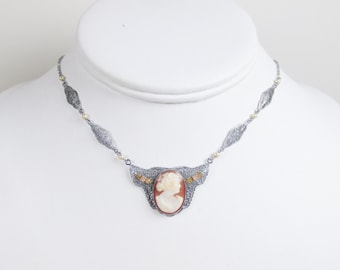 Antique 10k Filigree Necklace with Cameo and Rose Gold Accents