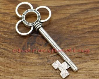 10pcs Large Flower Key Pendants Charms Antique Silver Tone 54x24mm cf1549