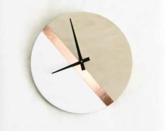 Modern Wall Clock, Wood, Copper and White Decor, Housewares, Home and Living, Unique Wall Clock
