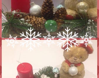 Red Teddy bear candle holder