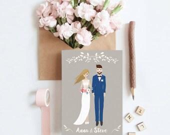 Personalized wedding invitation, Wedding portrait, Bride and groom, custom wedding illustration, Couple portrait illustration, Wedding card