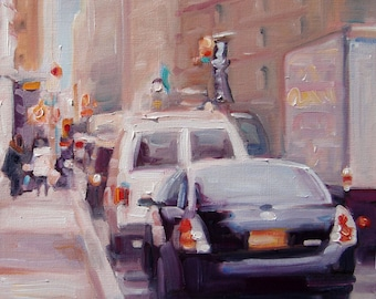 """A New York Minute, Original Oil Painting by puci, 8x10"""""""