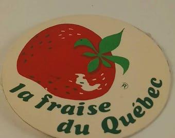 Vintage Quebec Strawberry pinback button