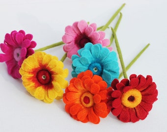 Felt flowers, Gerbera, handmade felted flowers