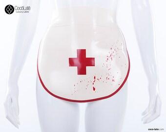 Latex nurses apron w/ blood splatters