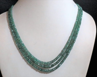3-strand Natural Genuine Real Emerald Multistrand Stone Bead Green Faceted Rondelle Necklace Gemstone Jewelry Gift woman gem Beads jewellery