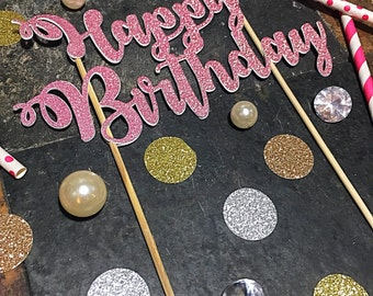 Happy Birthday Cake Topper/Script Happy Birthday Cake Topper/Birthday Cake Topper