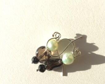 Green Pearl, Smoky Quartz, Black Spinel Silver Earrings, Lilyb444