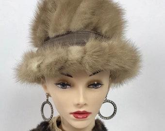 "Womens Vintage 1950s Genuine Blonde Mink Fur Tail Bucket Hat Ladies Size 21"""