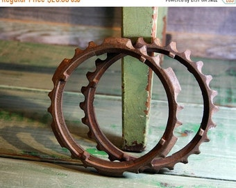 ON SALE Large Metal RUSTY Gears (2) Industrial Machine Iron Cogs- Salvaged Rusted Metal Tractor Gears- A14