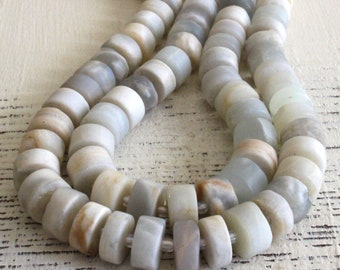 Large Gemstone Wheel Beads - 12mm Matte Moonstone Wheel Beads For Jewelry Making - 16 Inch Strand