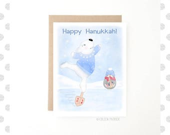 Happy Hanukkah - Holiday Card - Jewish Holiday -  Recycled Paper - Chanukah Card - Polar Bear