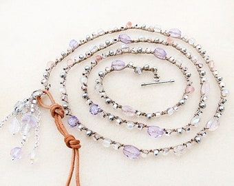 Crochet Necklace, Wrist Wrap, Purple, Pink, Clear, Crystal, Leather, Czech Glass, Silver, Knotted, Handmade, Fiber Jewelry, Gift for Her
