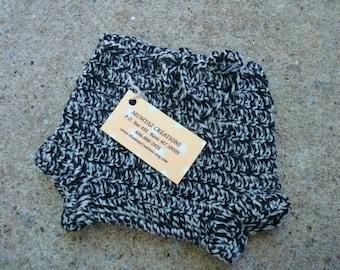 Newborn Baby Boy's Crocheted Wool Shortie Soaker Diaper Cover - Zebra 520