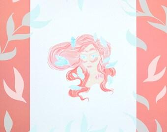 Ladies of Nature | Girl Illustration | Owl Illustration | A5 Art Print