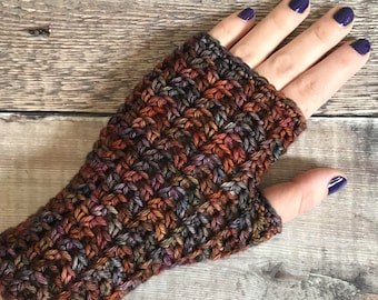 Crochet Fingerless Gloves, crochet hand warmers, wrist warmer, texting gloves, hand dyed premium extra fine merino gloves, knitted gloves