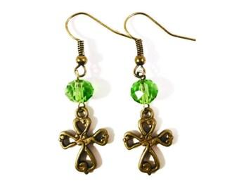 Bronze Cross Earrings, Green Crystal Earrings, Beaded Dangle Earrings, Charm Earrings, Religious Earrings, Beadwork, Costume Jewelry