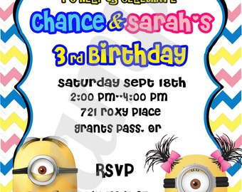 YOU PRINT!!! Minnions  Birthday Party invitation Customized for you !!