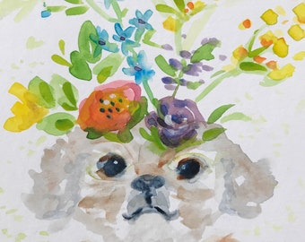 Shih Tzu Dog in My Garden with Flowers  Art Print from original watercolor painting illustration
