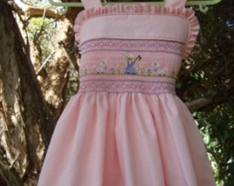 Hand Smocked Sundress with Matching Knickers - Little Bo Peep