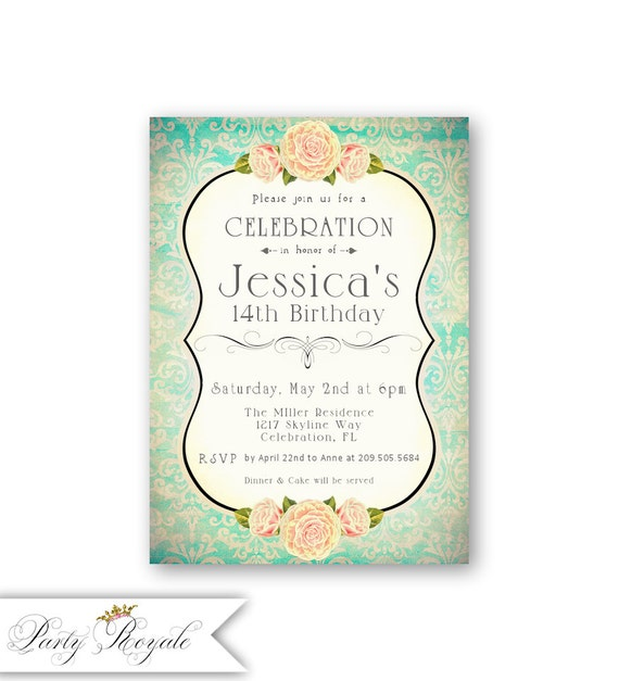 Girls 14th Birthday Invitations Any Age 13th 14th 15th