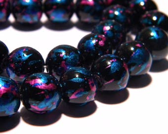 20 beads speckled glass - 10 mm - blue pink reflection - PG292