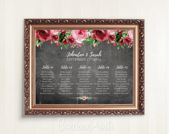 Printable Wedding Seating Chart Personalized Wedding Seating Chart Table Seating Plan DIY Guest Seating Chart Floral Chalkboard Wedding