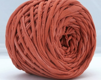 T Shirt Yarn, Hand Dyed, Terra Cotta, Red Brown, 60 Yards, T-shirt Yarn, Tshirt Yarn