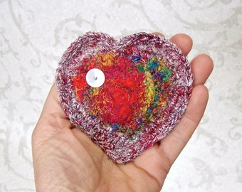 Rainbow Silk Heart - Unique Handmade Heart Shaped Fragrant Organic Lavender Sachet - Valentine's Day, Mother's Day, Wedding Anniversary Gift