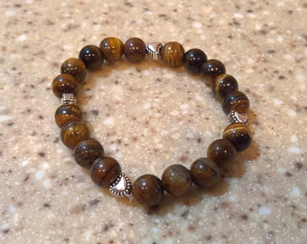 Tiger Eye and Silver Heart Bracelet