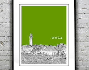 Corolla North Carolina Poster Art Print Lighthouse North Carolina NC