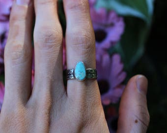 Sterling Silver Royston Turquoise Stacking Ring // Size 6.75 **SALE**