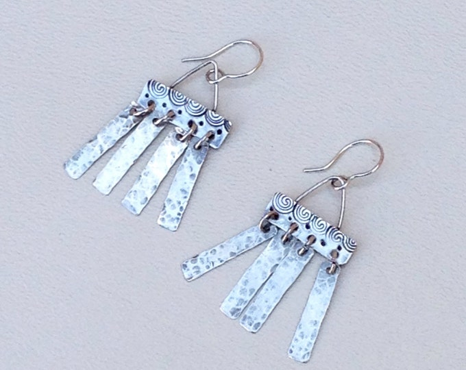 Unique sterling silver dangle earrings handmade with silver fringe