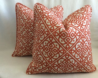 """Set of Fretwork Designer Pillow Covers - Waverly """"Lace It Up"""" Fabric - Red/ White - Custom Self Piping - 18x18 Covers"""