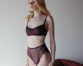 mesh underwire bra - womens lingerie range - ROMANTIC - made to order