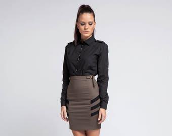 Schwarzes Shirt, Frauen Top schwarz, Plus Größe Kleidung, lässiges schwarzes Shirt Kragen Top, minimalistische Shirt, elegantes Hemd, Büro Top, übergroßen Top