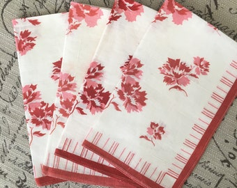 Darling Set of 4 Vintage Red and White Napkins
