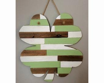 Wooden Planked Shamrock, St. Patrick's Day Decor, Irish Decor, Rustic Irish.