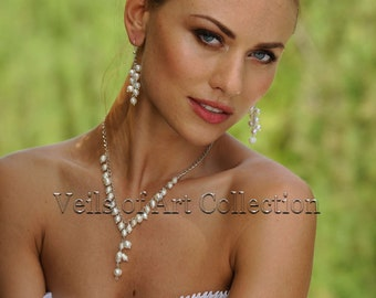 Pearl Bridal Necklace and Earrings Set by Veils of Art VE410