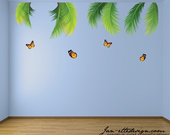 Jungle Leaves Wall Decals,Large Removable and Reusable Palm Leaves with Butterflies, Jungle Wall Stickers for Kids bedrooms and Classrooms