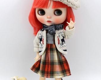 Girlish - Checker Dress Set for Blythe doll - dress / outfit