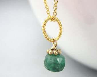 Tiny Emerald Necklace Charm Gold Small Green Gemstone Pendant, Sterling Silver, May Birthstone