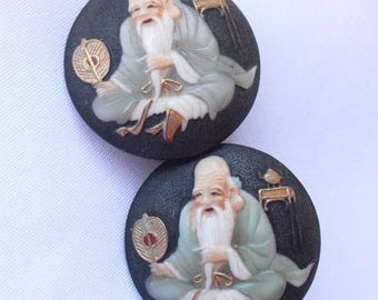 Japanese TOSHIKANE Earrings - Vintage Arita Japan Porcelain - Fukurokuju God of Wisdom