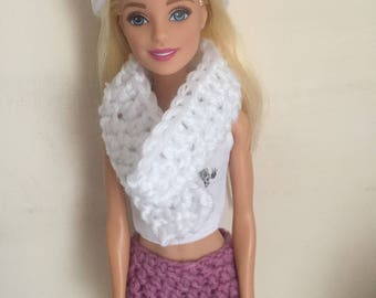 Handmade hat and scarf set for Barbie Doll in white. Other Colours available