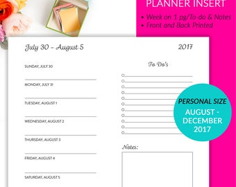 Printed Personal Size Weekly To List Notes Planner Inserts - JAN 2018 - DEC 2018