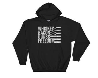 Whiskey Bacon Guns & Freedom Hoodie Flag Pullover