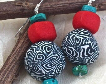 EARRINGS: What fun,  black white and red polymer clay turquoise dangle earrings OOAK