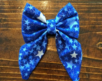 Blue silver star sailor bow- Oversized ponytail bow, pigtail bows, headband, hair clip, baby, girls, kids, adult
