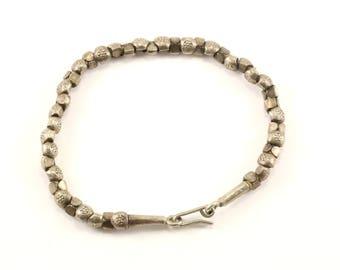 Vintage Beads Beaded Chain Bracelet 925 Sterling BR 3179